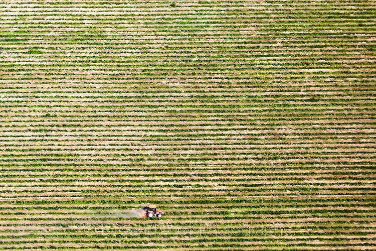 Малък трактор в голямо поле