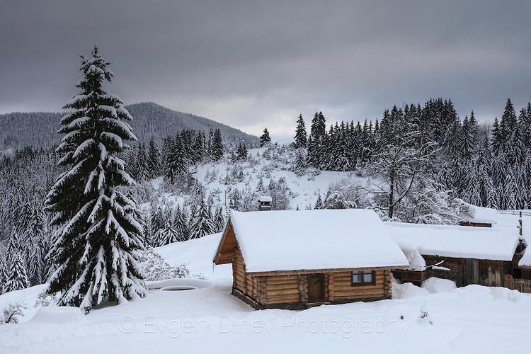 Еко къща със снежен покрив