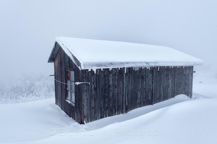 Колиба покрита със сняг