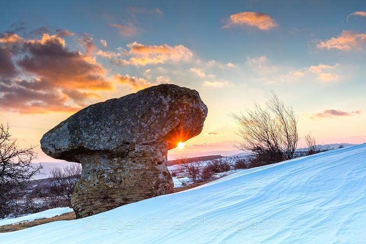 Зимен залез край Доброванските гъби
