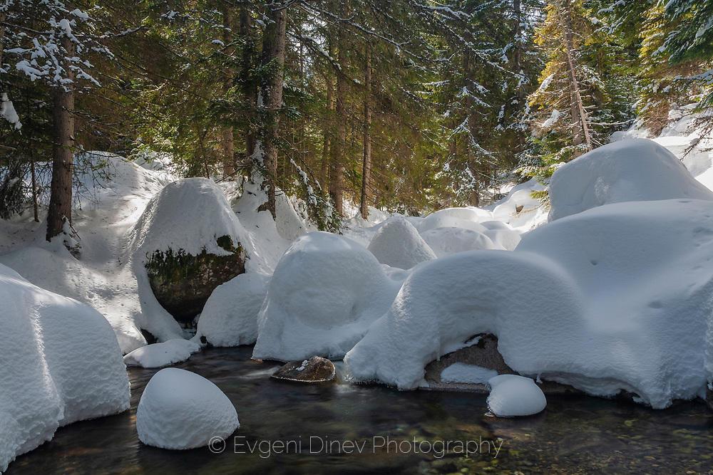 Река Дамяница отрупана в сняг