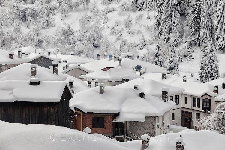 Къщи покрити със сняг